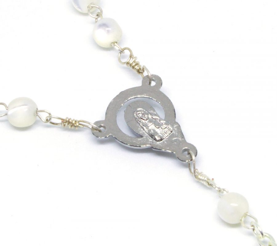 Angelic Mother of Pearl Rosary Centerpiece Back