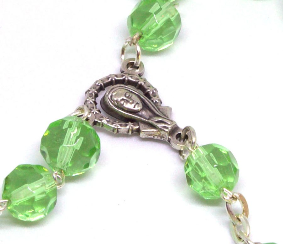 Holy Land Glistening Emerald Rosary Centerpiece Front