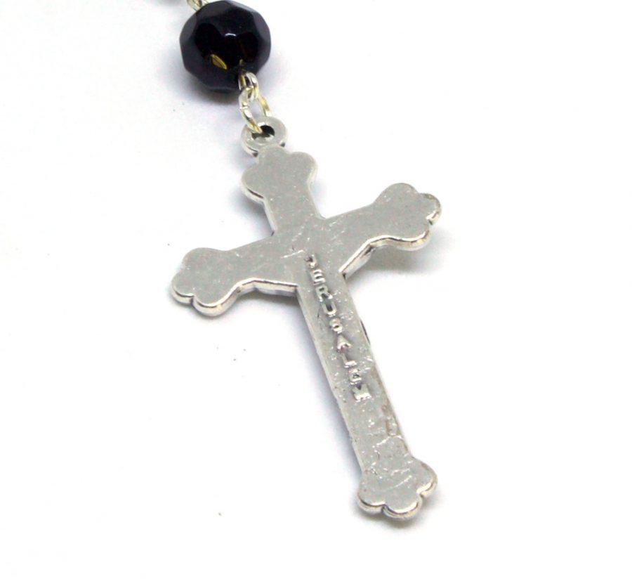 Holy Land Majestic Black Rosary Crucifix Back