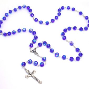 Holy Land Shimmering Sapphire Crystal Rosary