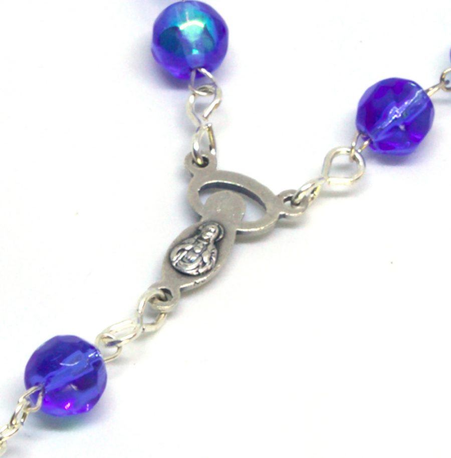Holy Land Shimmering Sapphire Crystal Rosary Centerpiece Back