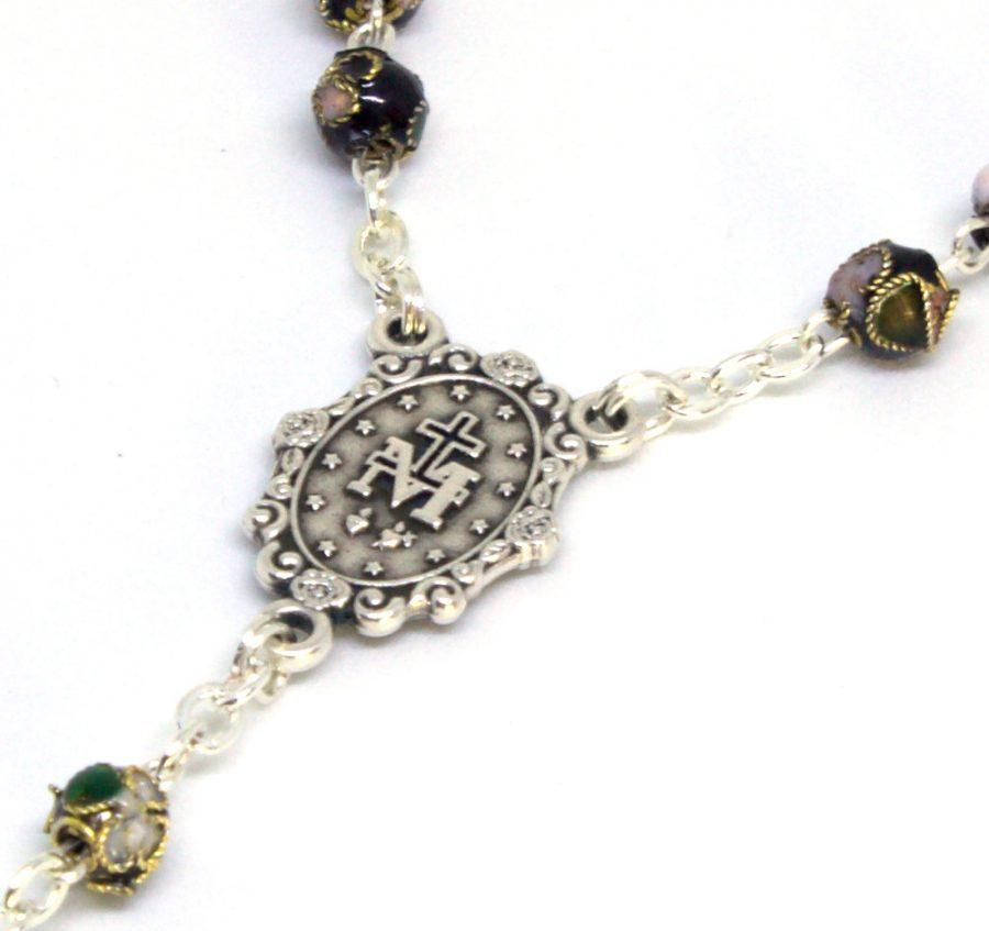 Italian Black Cloisonne Rosary Centerpiece Back