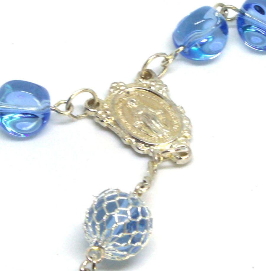 Rosary Boutique Stunning Blue Madonna Rosary Centerpiece Front