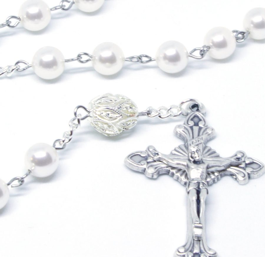 TRB White Pearl First Communion Rosary Pater Bead