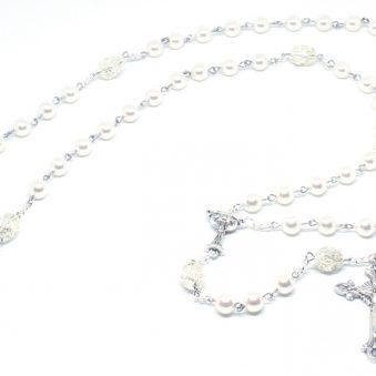 Opalescent Swarovski® White Pearl Communion Rosary