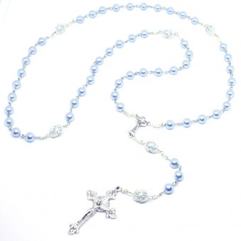 Baby Blue Swarovsky Pearls Holy Communion Rosary